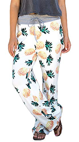 (ezShe Women's Printed Pajama Lounge Pants Loose Palazzo Pj Wide Leg Sleepwear, Pineapple XS)