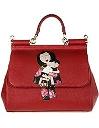 Dolce&Gabbana women's leather handbag shopping bag purse sicily dauphine patch r