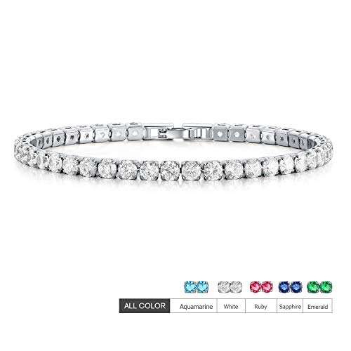 EEPIRR AAA+ Cubic Zirconia Friendship Tennis Bracelet 18K White Gold Plated Round Cut CZ Diamond Bracelets Crystal Jewelry Gifts for Women - Gold Four Prong Diamond Bracelet