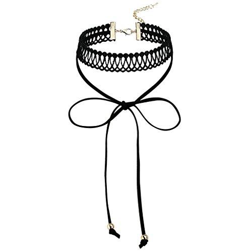 Gnzoe Femme Choker, Tatouage Collier Velvet Double Collar Bow Knot Dentelle Choker Collier Or Noir, 32.5+8.5CM