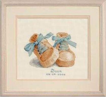 Zamtac Baby Boots Birth Sampler Same DMC 14CT Counted DIY Cross Stitch Kits for Embroidery Cartoon Boy Girl Gift Home Decor Needlework - (Color: Blue, Cross Stitch Fabric CT Number: 14CT)