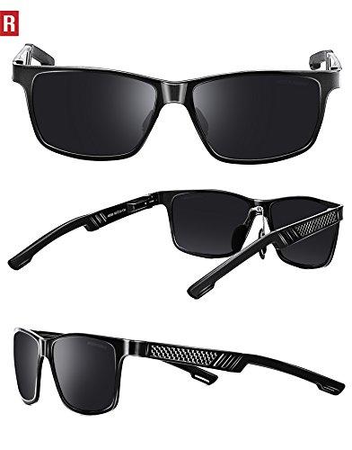ROCKNIGHT Rectangular Sunglasses for Men Wayfarer Polarized Driving Sunglasses Metal Frame UV Protection Al-Mg Lightweight Grey by ROCKNIGHT (Image #2)