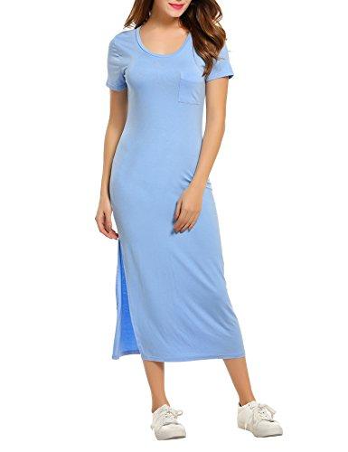 Side Slit Georgette (Meaneor Womens' Short Sleeve Side Slit Casual Bodycon Maxi dress Summer dress)