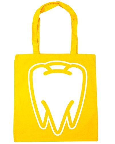 HippoWarehouse Tooth Tote Shopping Gym Beach Bag 42cm x38cm, 10 litres Yellow