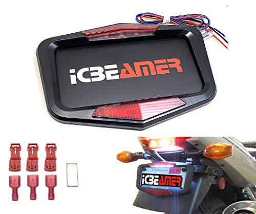 - ICBEAMER Waterproof Universal Fit Most Motorcycle License Plate Frame w/ 6+ Flashing LED Tail +Brake Light [Matte Black]