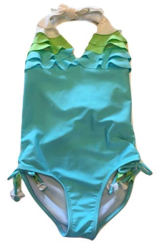 - Biscotti Kate Mack Girls Ruffled One Piece Swimsuit, Aqua/Green/White, 5