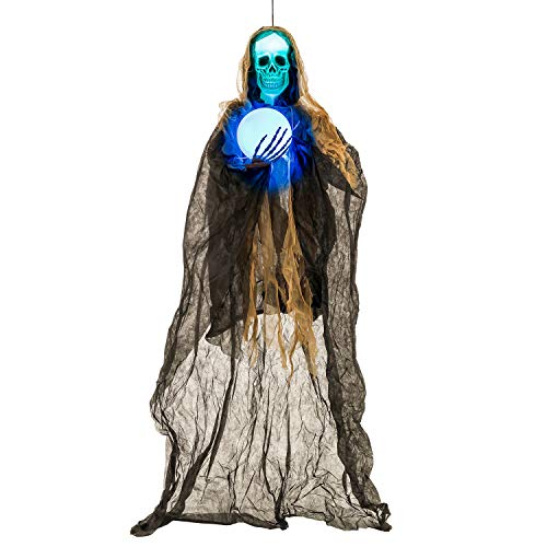 Halloween Haunters Animated Hanging 6 Foot Sonic Strobe Skull Reaper with Magic Ball Prop Decoration - Strobing Green Light Skeleton Head, Flashing Light Up Crystal Ball - Battery Operated