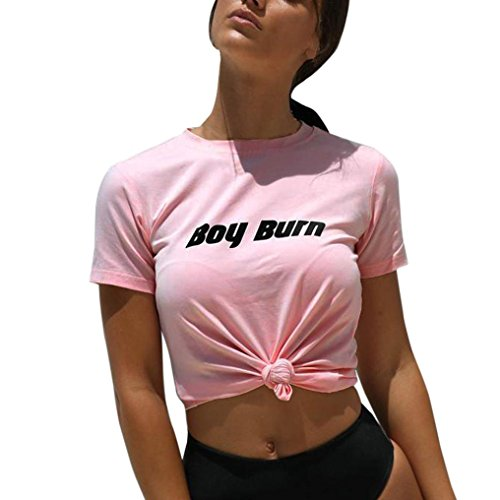 Big Promotion!Women T-Shirts Realdo Fashion Casual Short Sleeve O-Neck Letter Print Causal Blouse Tops T-Shirt(US 6, Pink) (Petite Scoop Scallop Top)