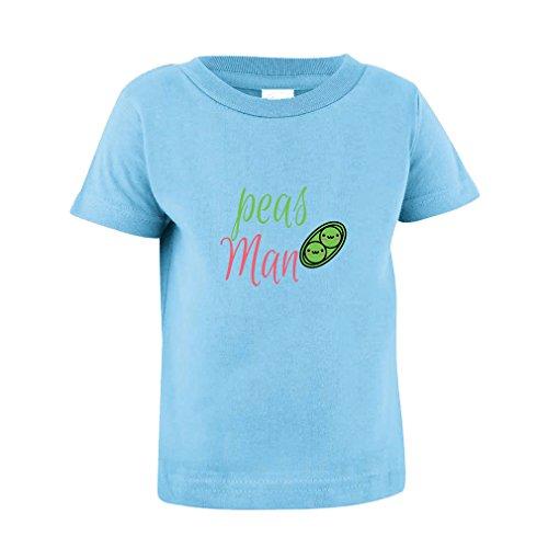 Peas Man! Peace Sig Toddler Baby Kid T-Shirt Tee Light Blue 12 Months