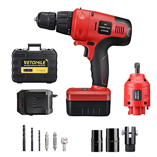 18v Hammer Driver Drill - VETOMILE 18V Cordless Impact Drill Driver Kit and 1/2 Inch Electric Wrench Detachable Combo Kits with 2 Speed Powerful Rechargeable Lithium-Ion Battery and Portable Carry Case