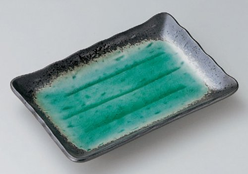 DEEP-SEA-GREEN Jiki Japanese traditional Porcelain Rectangle Plate