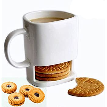 Dunk Mug, Casety 8.5 FL OZ Ceramic Cookies Mug Dunk Cup with Biscuit holder