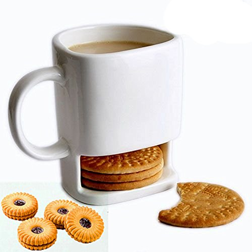 Cookie mug, Cafurty 8.5 FL OZ Ceramic Cookies Mug Dunk Cup with Biscuit holder