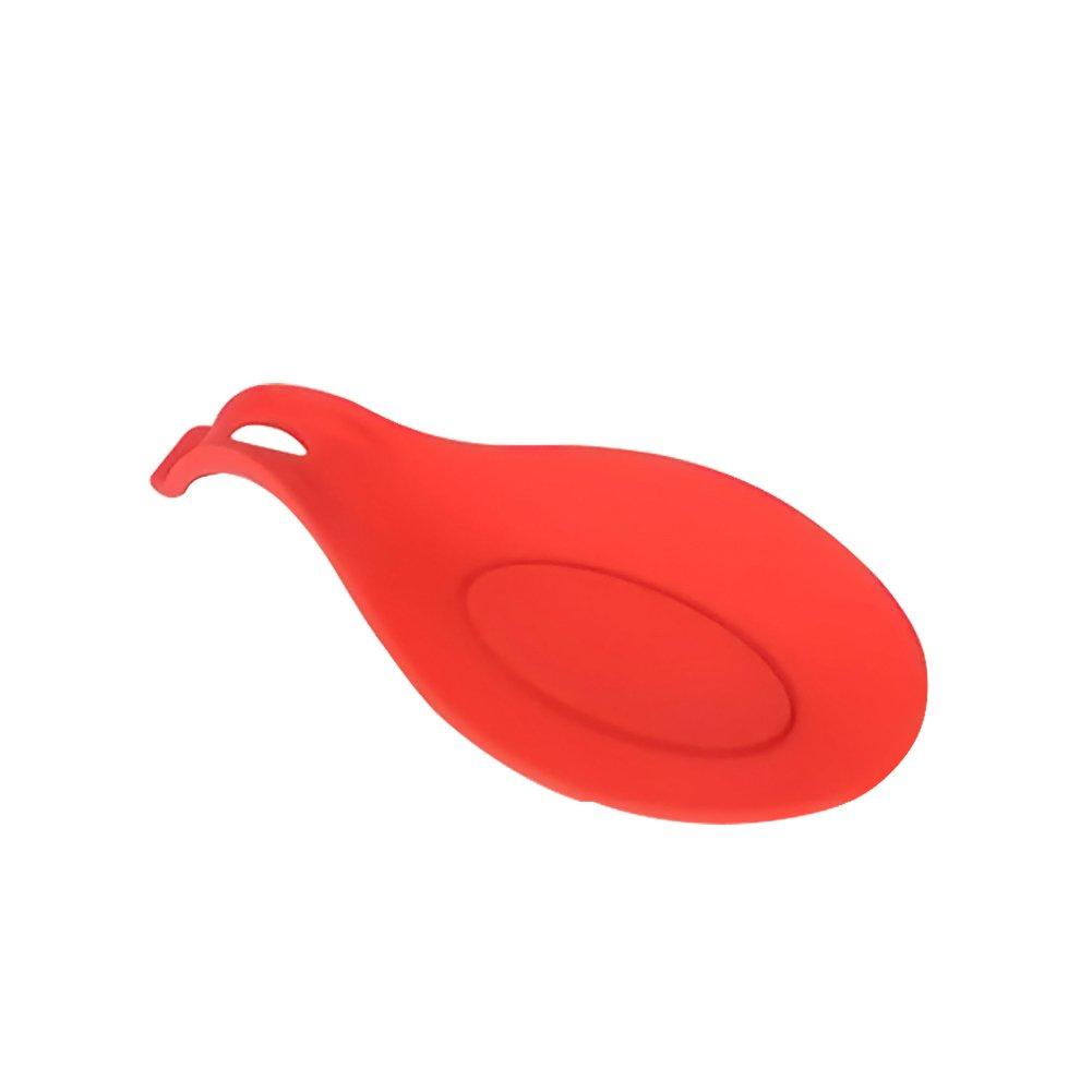 spazzole Relaxdays Poggiamestolo Professionale in Silicone per Utensili da Cucina 1 Pezzo Rosso Posate per spatola