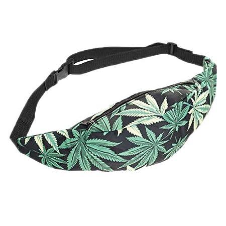 Hwyaobao 3D Colorful Waist Pack for Men Fanny Pack Green Leaves Style Bum Bag Women Money Belt Travelling Mobile Phone Bag