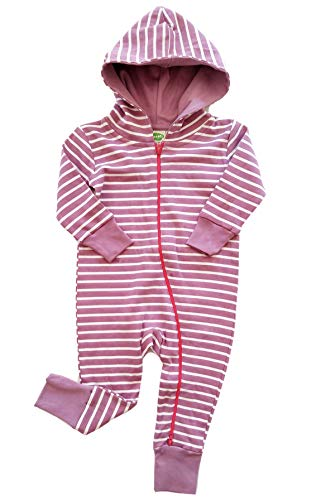(Parade Organics Hoodie '2-Way' Zipper Romper Breton Stripes Plum 3-6M )