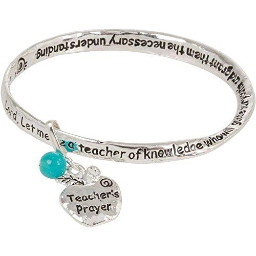 Artisan Owl Teacher Prayer Silver Tone Bangle Bracelet with Dangling Apple Charm ()