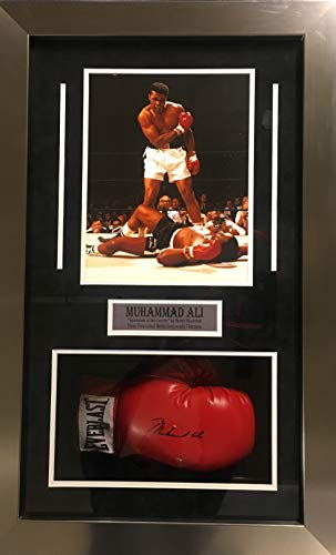Muhammad Ali Signed Autograph Boxing Glove Custom Framed Shadow Box Suede Matted Ali Authentics Certified ()
