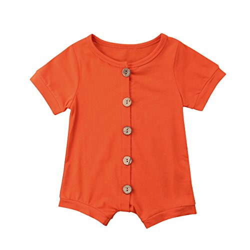 Meipitgy Infant Newborn Baby Boys Girls Romper Bodysuit Jumpsuit Outfits Overalls Clothes 0-24 M (6-12 Months, Orange)