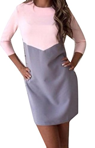 Cocktail Color Dress Sleeve Women Two Spell Neck Long Comfy Tone 2 Scoop wzqIRYv