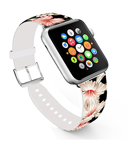 Apple Watch Band 38mm,Replacement Band Genuine Leather Iwatch Strap With Silver Metal Clasp For iWatch 38mm Black Elegant Luxury Red Flowers