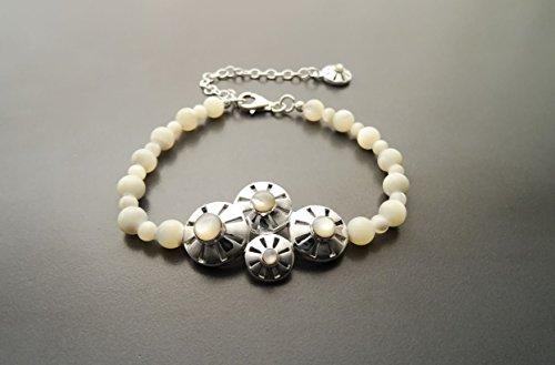 (Boho Pearls Bracelet - Sterling Silver - Pearl Bracelet -Filigree - Lace - Indie Bracelet - Boho Bracelet - shabby chic Bracelet - Fashion)