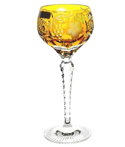 Nachtmann Traube Amber Gold Cased Crystal Tall Wine Hock Goblet, Glass 8.25
