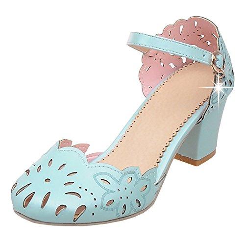 Coolcept Zapatos de Tacon Ancho Para Mujer Light Blue
