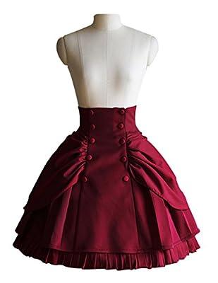 Steampunk High Waisted Skirt Steampunk Vintage Bustle Skirtblack,burgundy