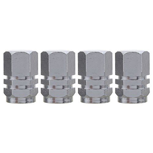 TOMALL Hexagon Style Chrome Gray Rims Tire Valve Stem Caps for Vehicle Bicycle Dust Cover Gray Valve Covers