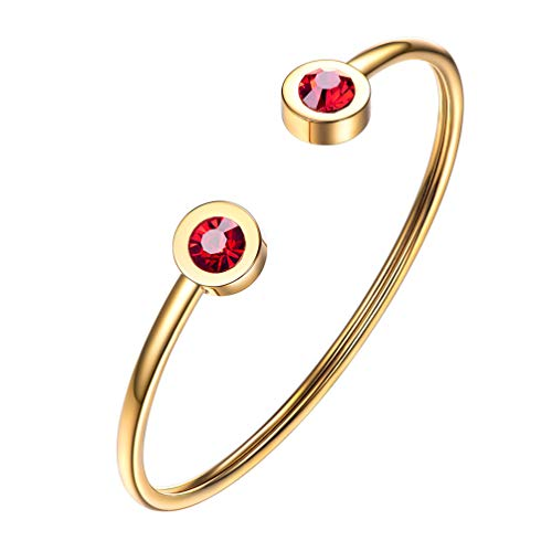 PROSTEEL July Birthstone Ruby Cuff Bracelet 18K Gold Plated Red Crystal Bangle Bridesmaid Girls Women Jewelry Birthday - Crystal 18k Plated Gold