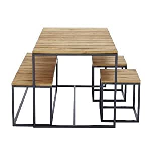 Jan Kurtz Alois–Conjunto de muebles de jardín Acacia, estructura Antracita 1mesa + 1banco + 2taburetes
