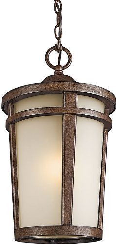 (Atwood Outdoor Hanging Lantern in Brown Stone )