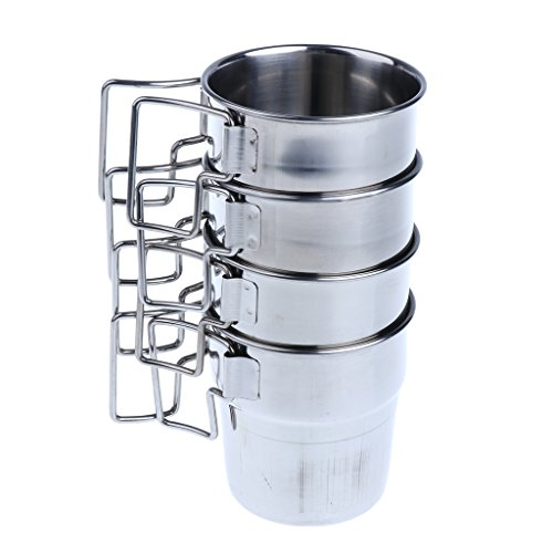MagiDeal 4pcs Pack Stainless Steel Water Cups Outdoor Camping Coffee Mug with Folding Handle for Outdoors by Unknown (Image #3)
