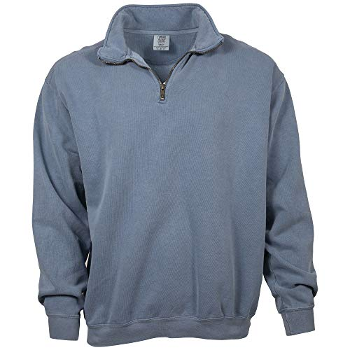 Comfort Colors Men's Adult 1/4 Zip Sweatshirt, Style 1580, Blue Jean, Large