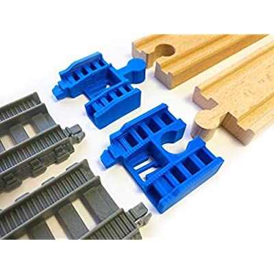 TrainLab Track Adapters Compatible with Trackmaster (2014+) to Wooden Railway Train Tracks (2pc) (Blue): Toys & Games