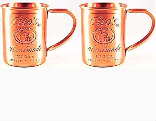 Tito's Vodka Moscow Mule Copper Mugs Gift Set of 2 by Tito's Handmade Vodka