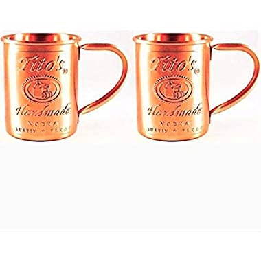 Tito's Vodka Moscow Mule Copper Mugs Gift Set of 2