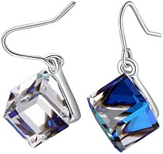 PLATO H Color Change Earrings Heart Of Ocean Blue Drop Earrings with Swarovski Cube Crystal Simulated Diamond CZ Stud Earrings Mother's Day Gifts, Ocean Blue And Purple