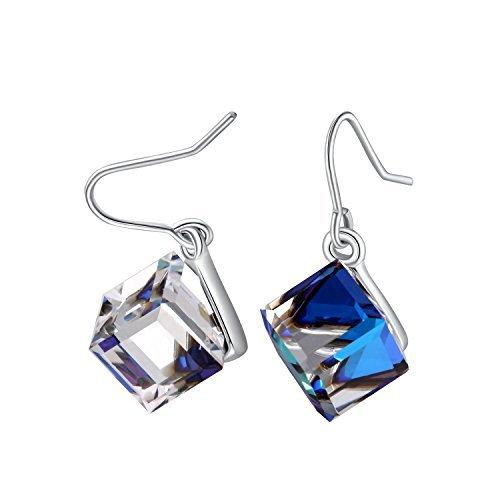 PLATO H Color Change Earrings Heart Of Ocean Blue Drop Earrings with Swarovski Cube Crystal Simulated Diamond CZ Stud Earrings Mother