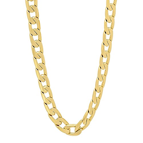 (Mens Curb Chain Necklace 5mm. 14K Gold Clad Made in USA , 30 X Stronger then Gold Plated (28))