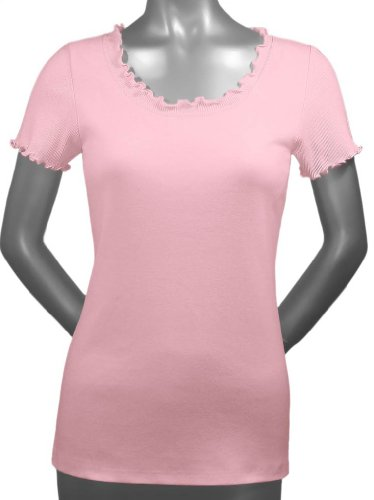 Kavio! Women Lettuce Edge Scoop Neck Short Sleeve Top Baby Pink L
