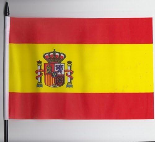 España Estado Escudo Bandera de mano Tamaño Mediano 23 cm x 15 cm: Amazon.es: Jardín