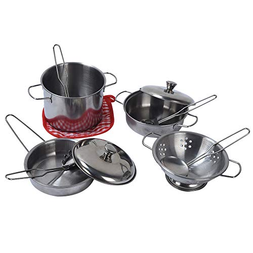 FarJing 11Pcs Stainless Steel Pots Pans Cookware Miniature Toy Pretend Play Gift for Kid by FarJing (Image #2)