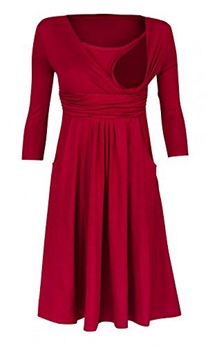 Happy Mama Womens Maternity Nursing 2in1 Skater Dress 3/4 Sleeves Pockets. 848p (Crimson, US 8)