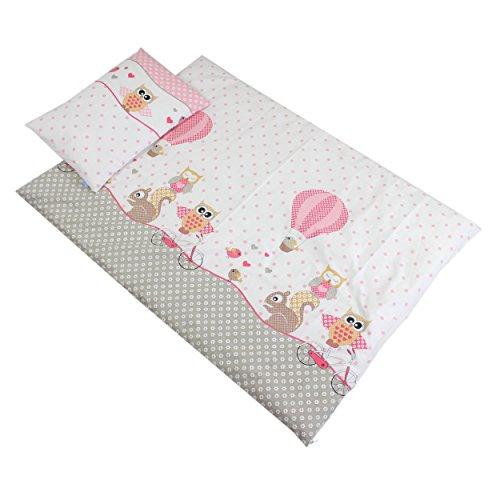 Baby Bettwäsche 2 tlg. Set 100% Baumwolle Bettset Kinderbettwäsche Eulen- Tiermotiv Babybettwäsche 100x135 cm, Farbe: Eulen Rosa, Größe: 135x100 cm