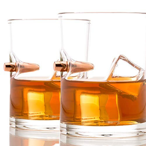 .308 Real Solid Copper Projectile Hand Blown Old Fashioned Whiskey Rocks Glass Set of 2 ()