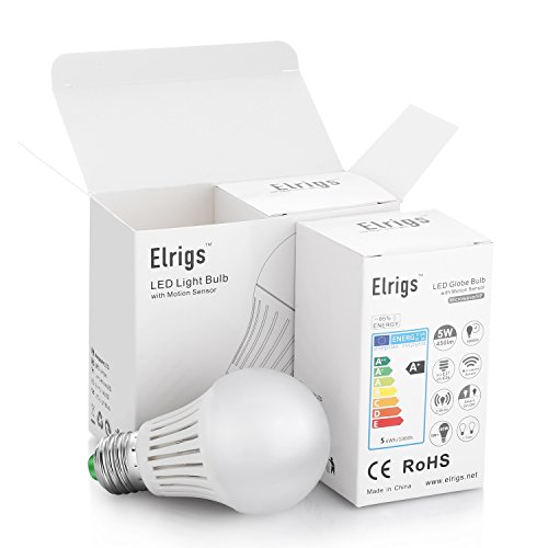 Elrigs LED Motion Sensor Bulb with Dusk to Dawn, 5W (40W Equivalent), E26 Base, Warm White (3000K), 2 Pack, 24 Feet Induction Distance - - Amazon.com