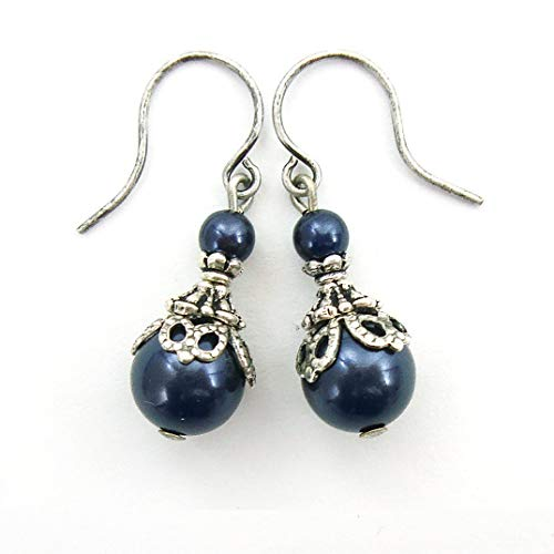 Midnight Blue Swarovski Crystal Simulated Pearl Victorian Style Earrings