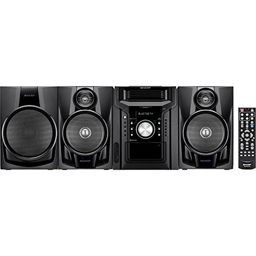 Sharp Bluetooth 350-Watt All-In-One Hi-Fi Audio Stereo Sound System With 5-Disc Multi-Play CD Changer, Cassette Deck, AM/FM Radio Tuner, Remote Control